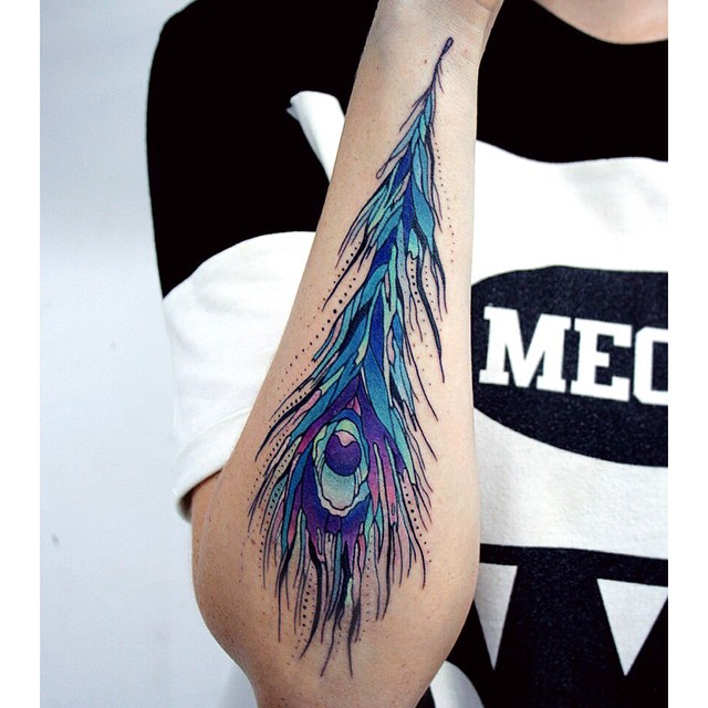 Peacock Feather Tattoo on Arm
