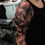 Rose and Butterfly Realistic Tattoo