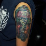 Space Jelly Fish Tattoo on Shoulder