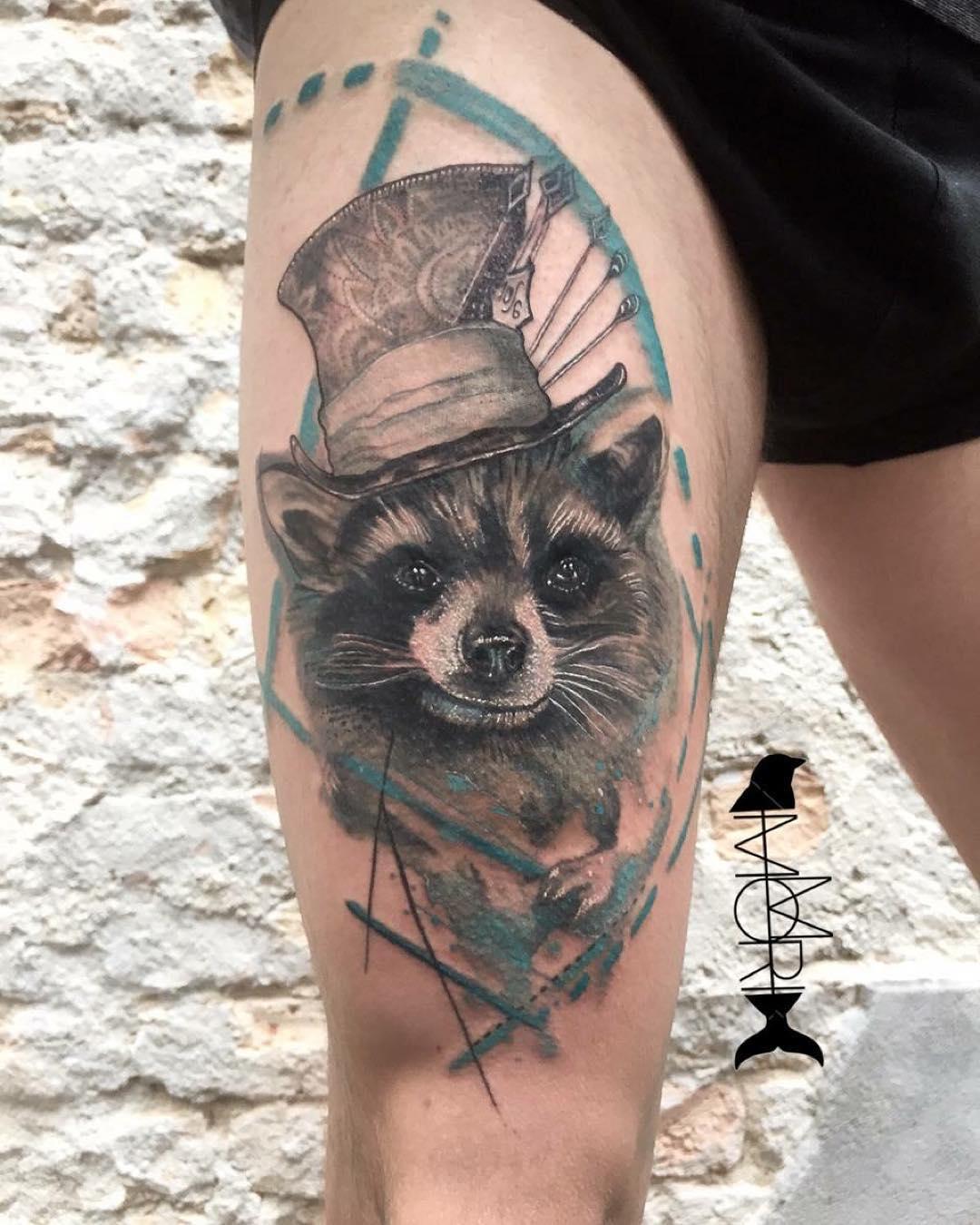 Thigh Raccoon Tattoo