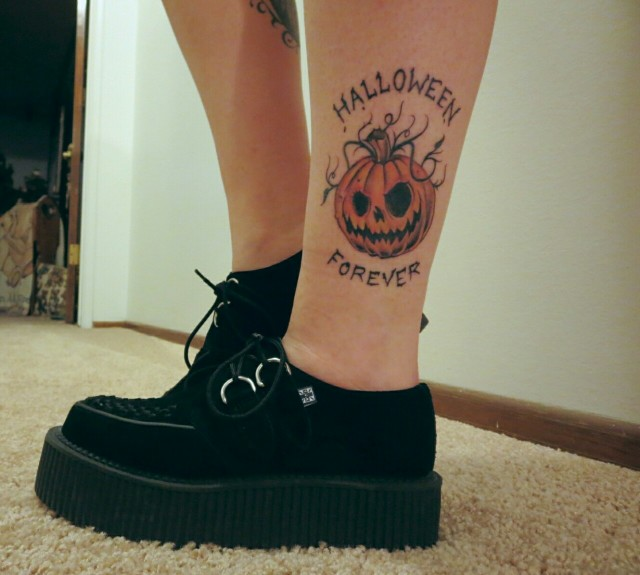 Ankle Halloween Forever Tattoo