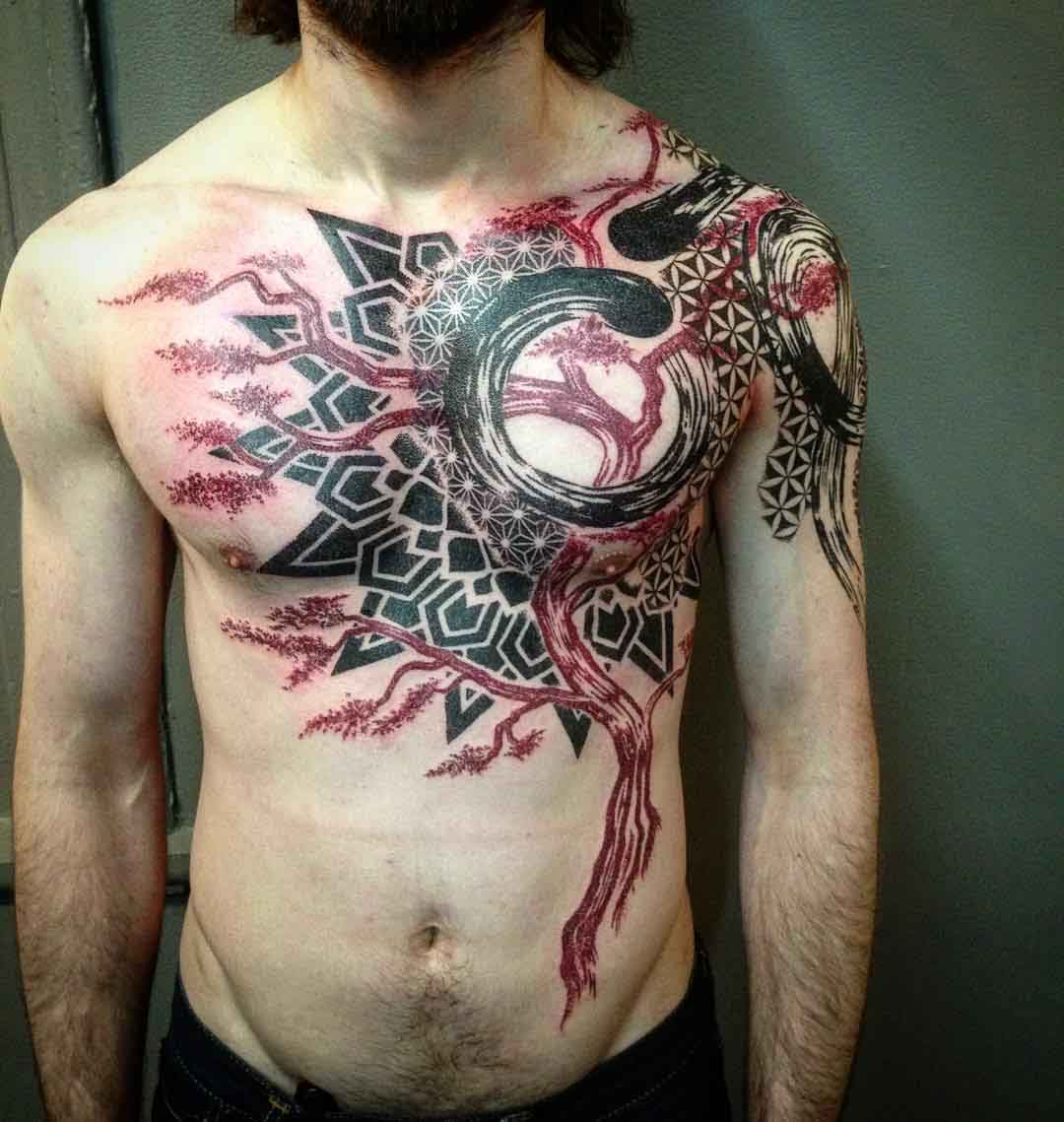 left chest and stomach Abstract Tree Tattoo