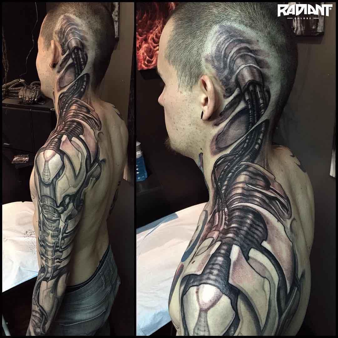 head to shoulder sleeve Biomechanical Tattoo