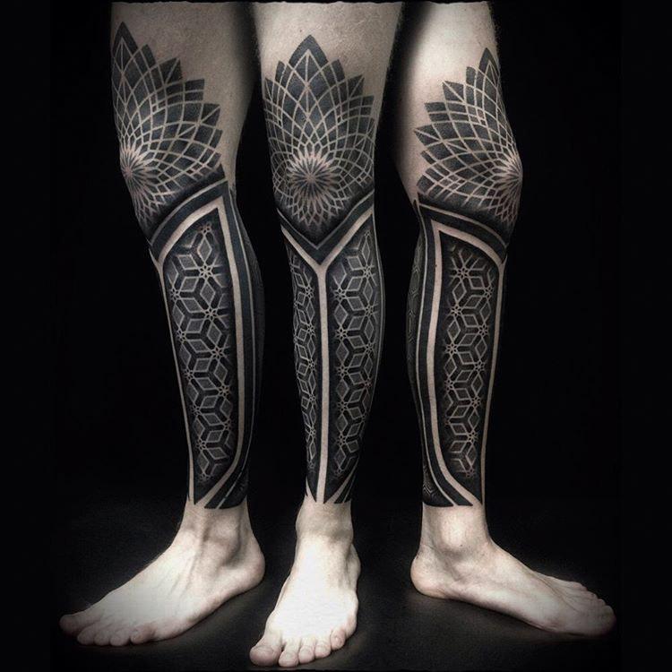 leg sleeve tattoo covering a calf