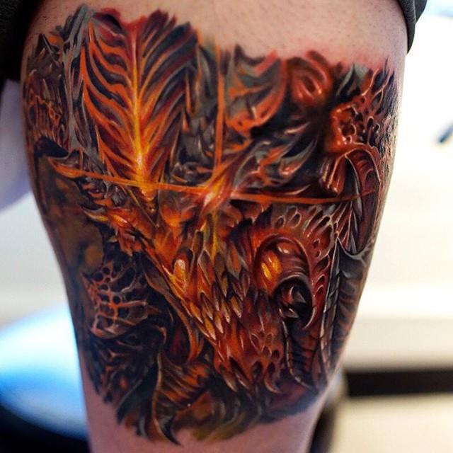 detailed Diablo face tattoo
