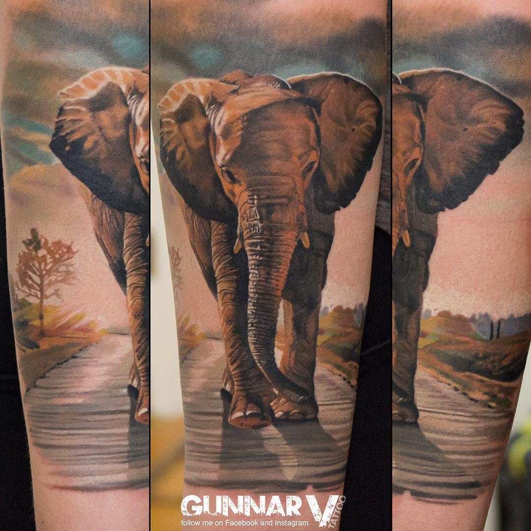 realistic elephant tattoo