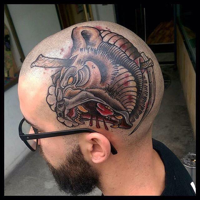 cool bear tattoo on head