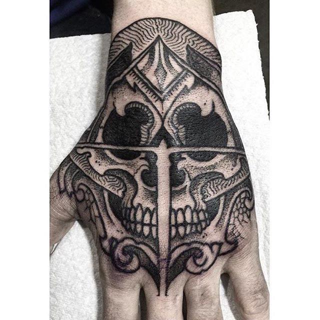 a skull tattoo on hand