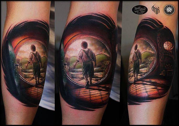 the Hobbit Movie inspired tattoo idea on leg