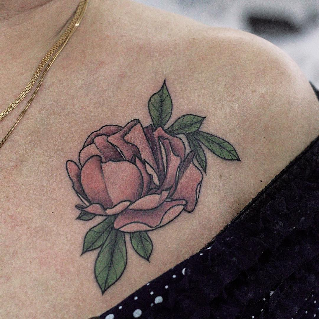 Peony flower tattoo on collar bone