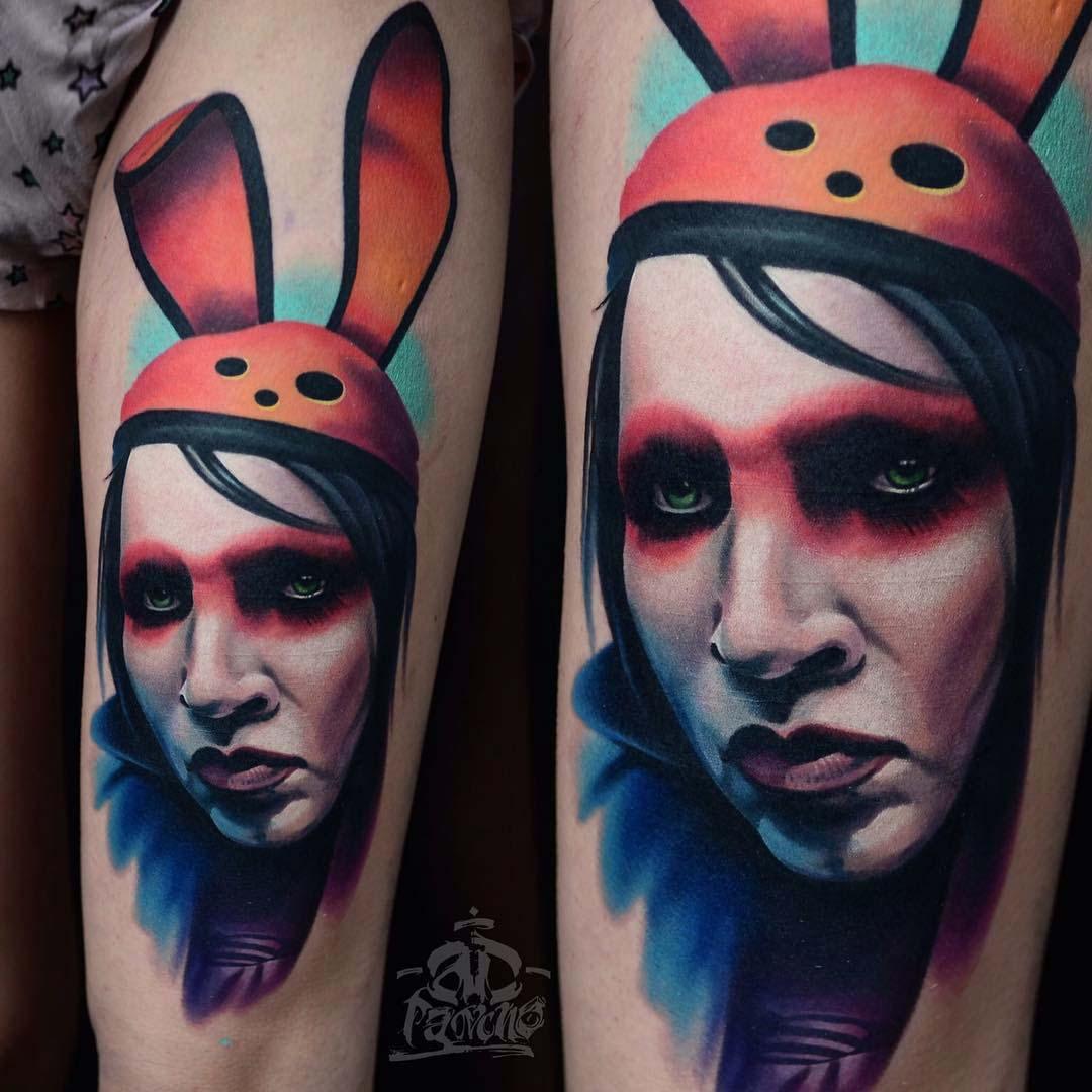 portrait marilyn manson tattoo in hare ears hat