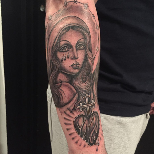 jesus heart and mary tattoo religious