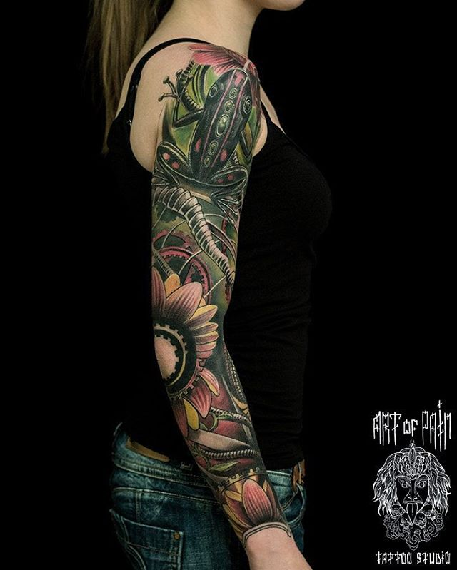 toad tattoo sleeve of nature
