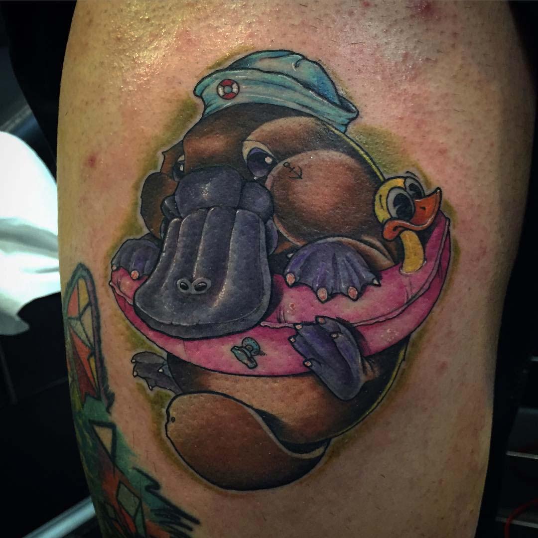Platypus new school tattoo