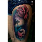 Pink Rose Passion Tattoo on Thigh
