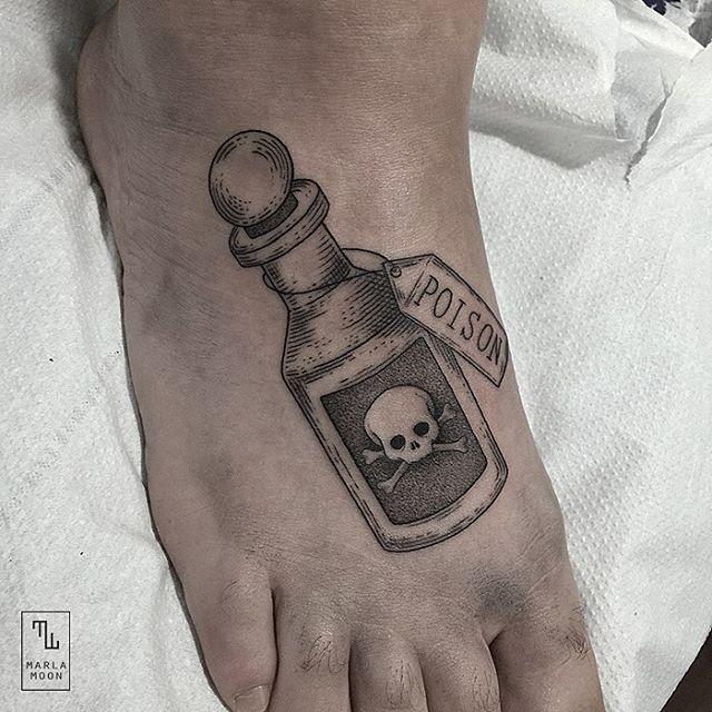Poison Bottle Tattoo on foot