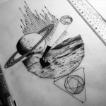 Space Exploration Tattoo Sketch