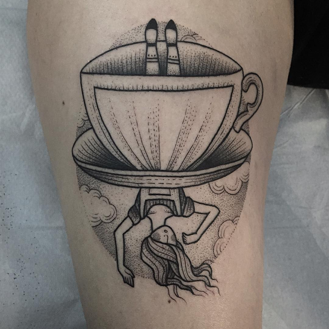 famous Alice character from the Alice in wonderlands falling up side down - good Alice tattoo design