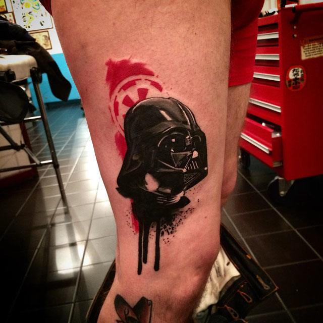 realistic Darth Vader Star Wars tattoo
