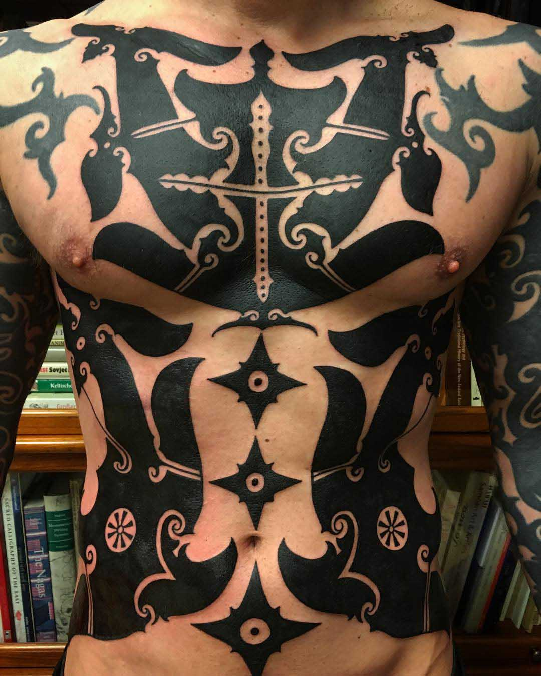torso blackwork tattoo for men