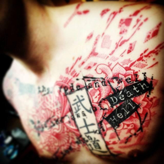chest tattoo trash polka