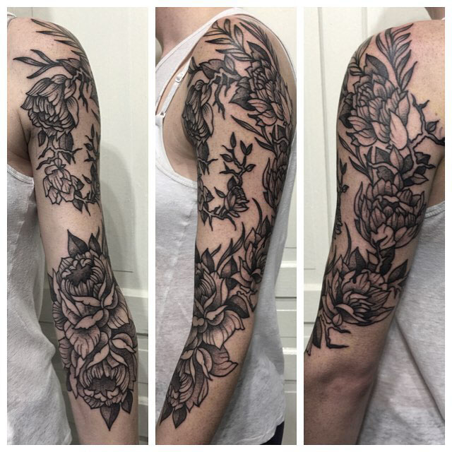 etching floral tattoo sleeve