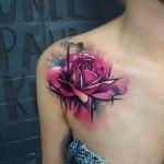 Front Shoulder Rose Tattoo