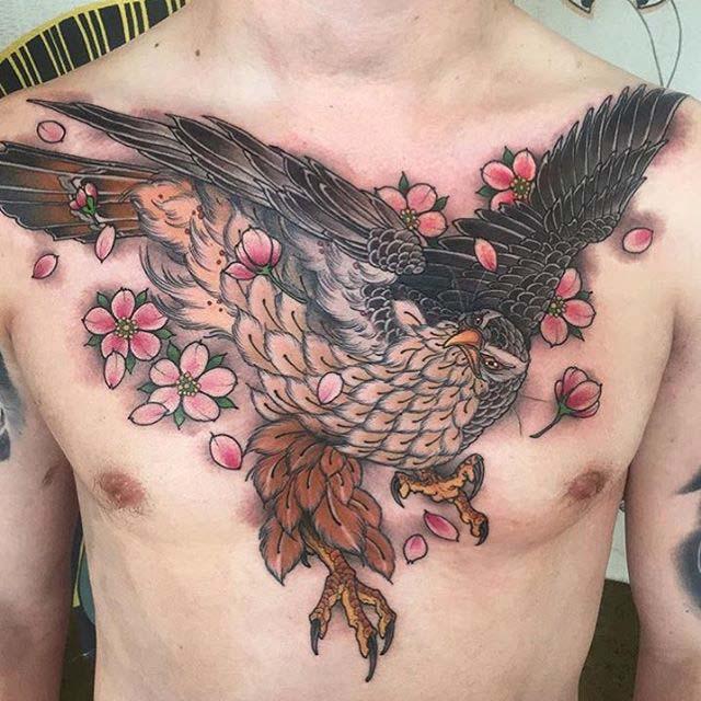 chest japanese tattoo of hawk