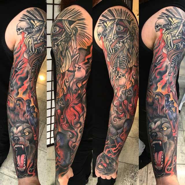 full arm tattoo sleeve mental