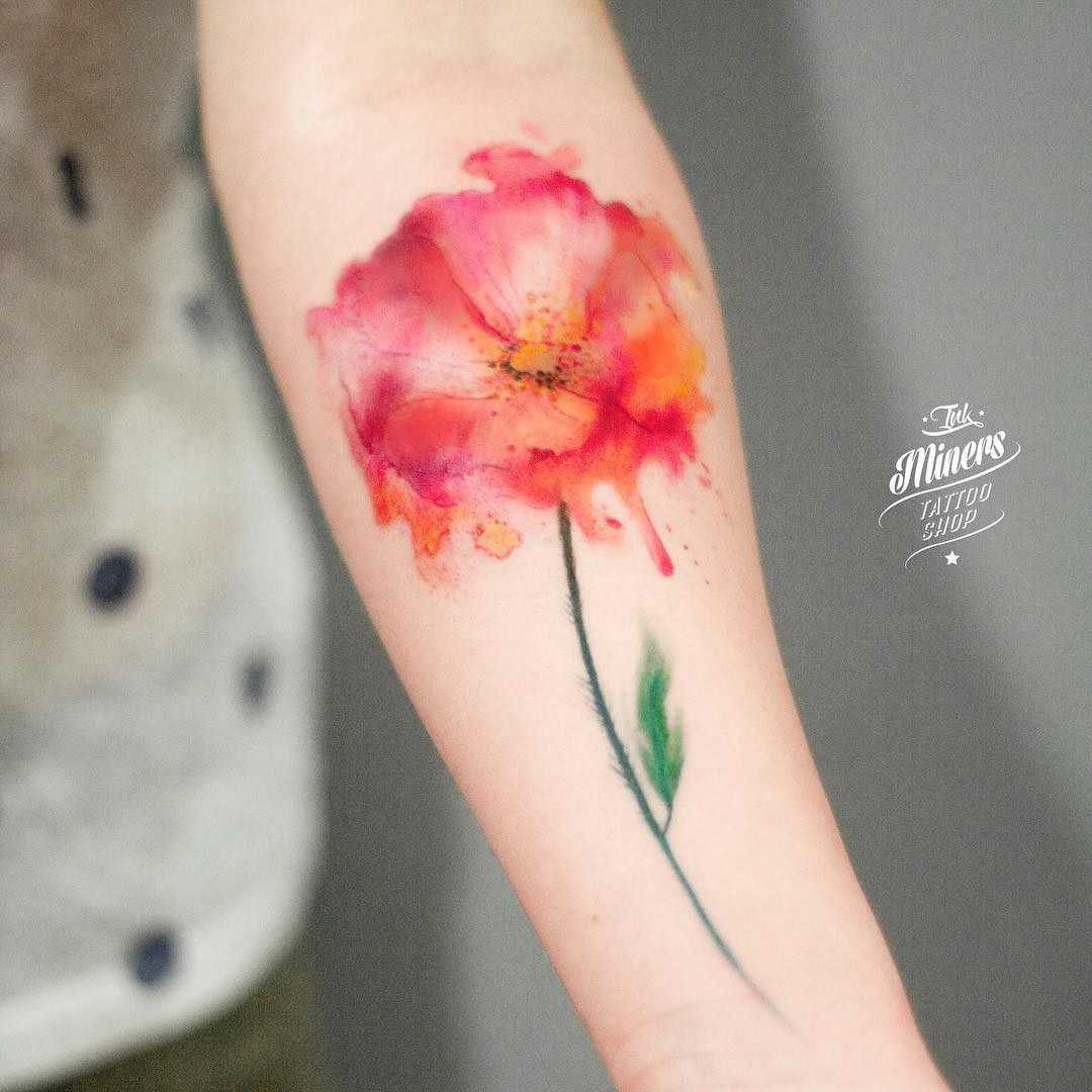 Poppy flower watercolor tattoo