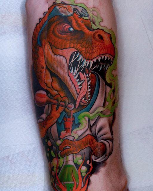 new school dino tattoo by T-Rex Scientist Tattoo