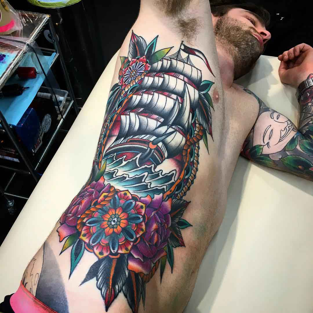 big nautical tattoo on torso side