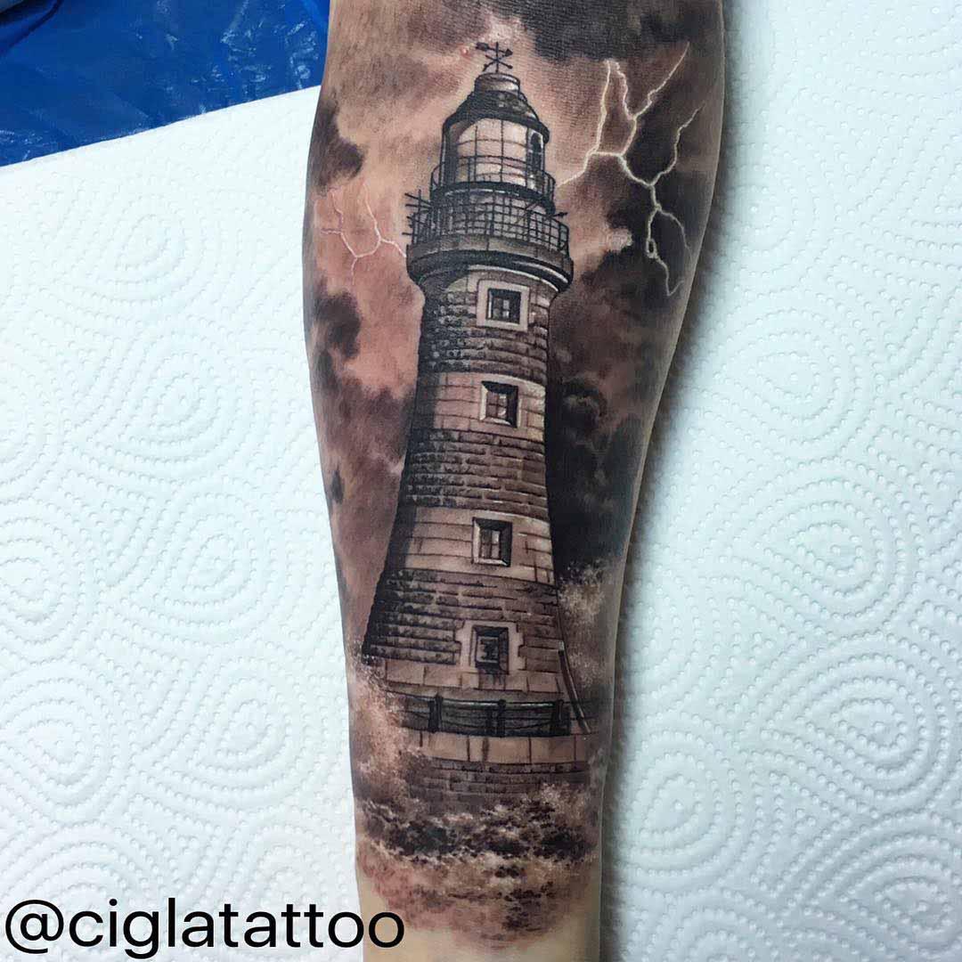 Thunder Lighthouse Realistic Tattoo