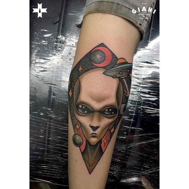 alien humanoid tattoo