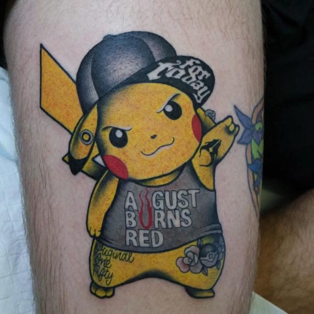 pokemon pikachu new school tattoo