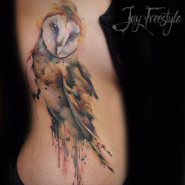 Tattoo owl watercolor