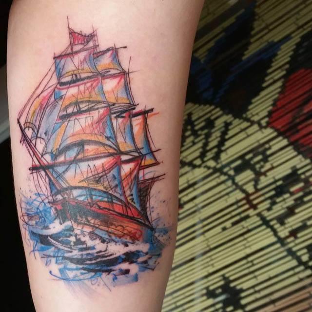 ship tattoo watercolor