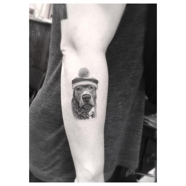 warm hat dog tattoo