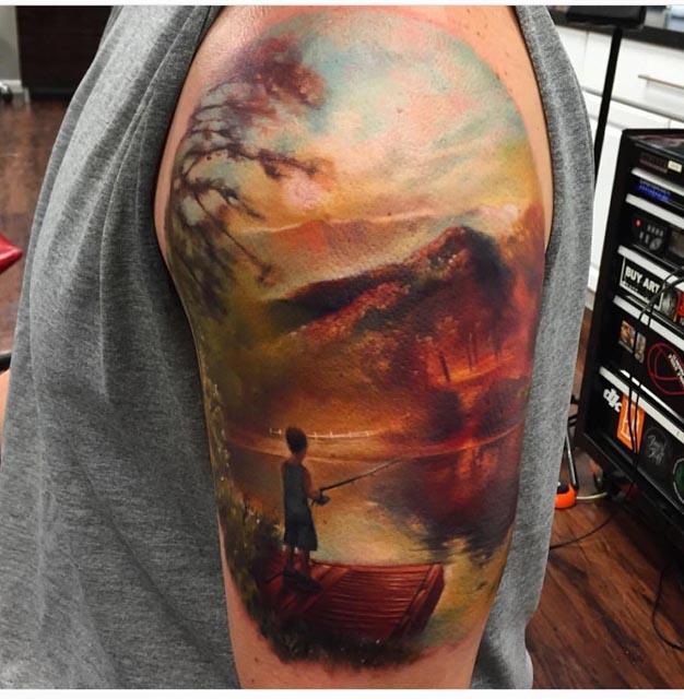 landscape fishing tattoo realism