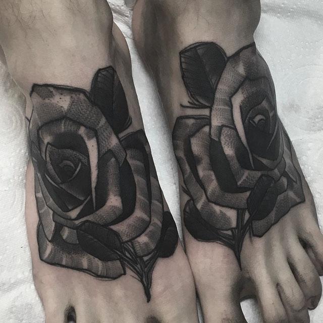 roses tattoo on feet