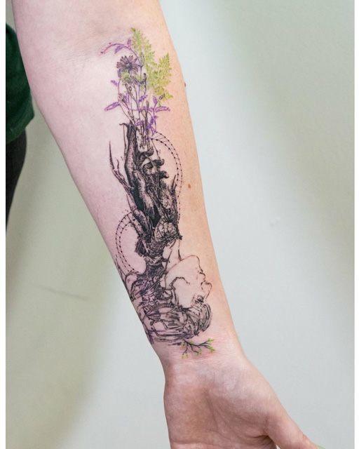 tattoo forarm grass