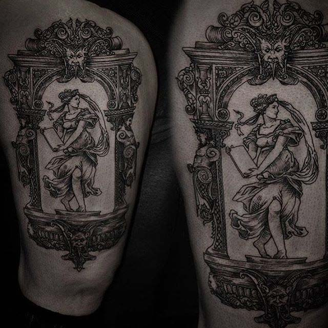 baroque frame tattoo girl