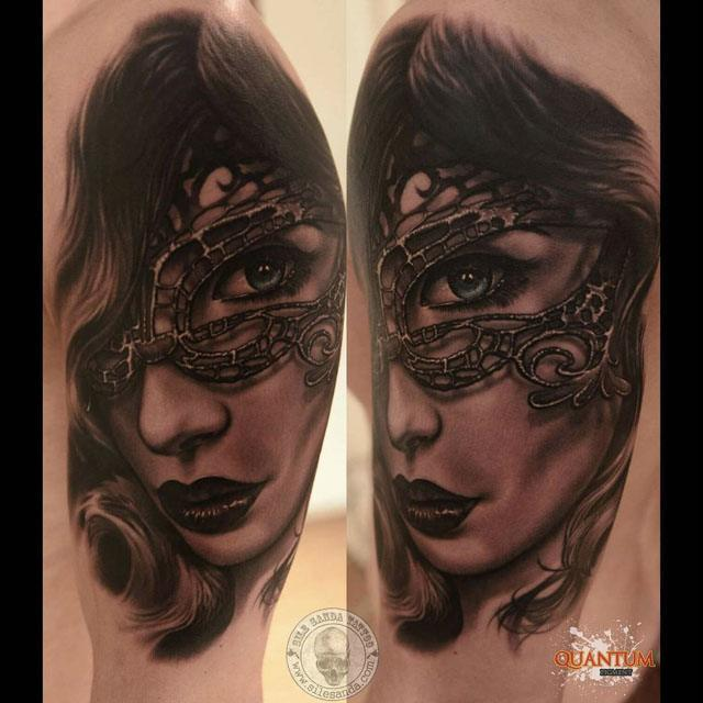realistic tattoo of girl in mas