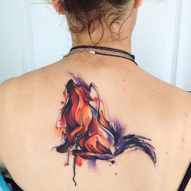 watercolor wolf tattoo howling