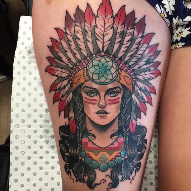 traditional indian woman tattoo