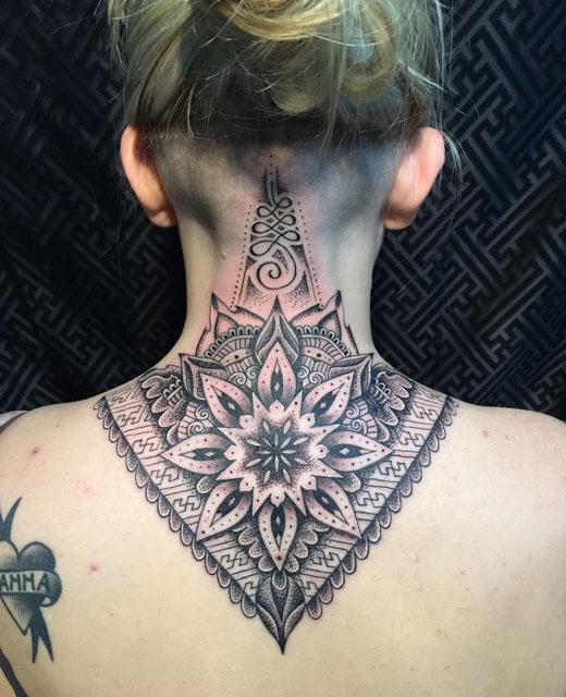 mandala back neck tattoo