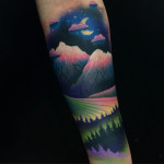 Mountain Landscape Tattoo on Arm