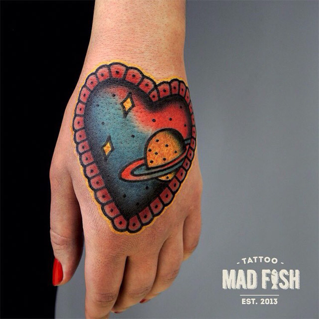 hand space tattoo old school