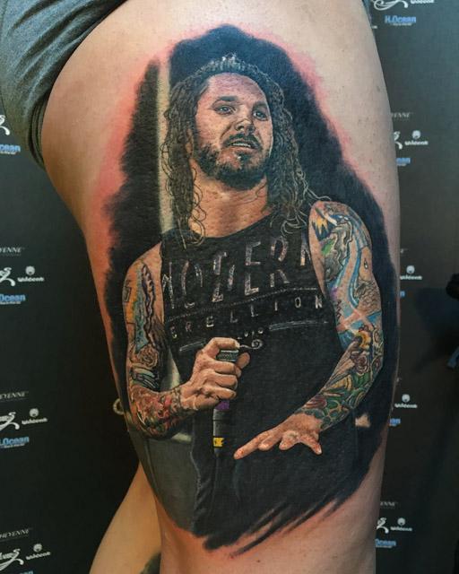 Tim Lambesis portrait tattoo