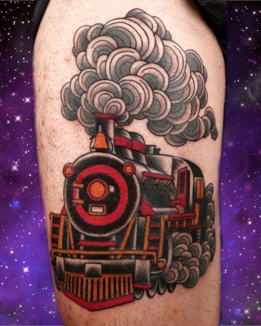 neo-traditional tattoo steam locomotive